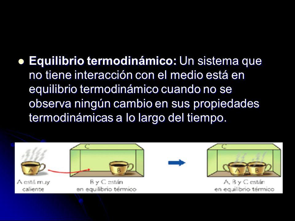 Equilibrio termodinámico: Un sistema que no tiene interacción con el medio está en equilibrio termodinámico cuando no se observa ningún cambio en sus