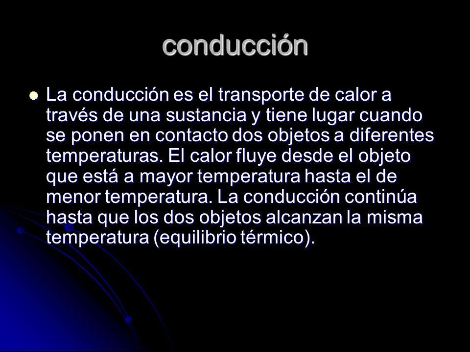 conducción La conducción es el transporte de calor a través de una sustancia y tiene lugar cuando se ponen en contacto dos objetos a diferentes temper
