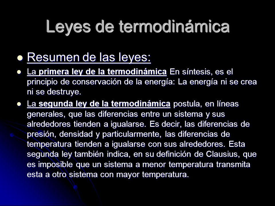 Leyes de termodinámica Resumen de las leyes: Resumen de las leyes: La primera ley de la termodinámica En síntesis, es el principio de conservación de