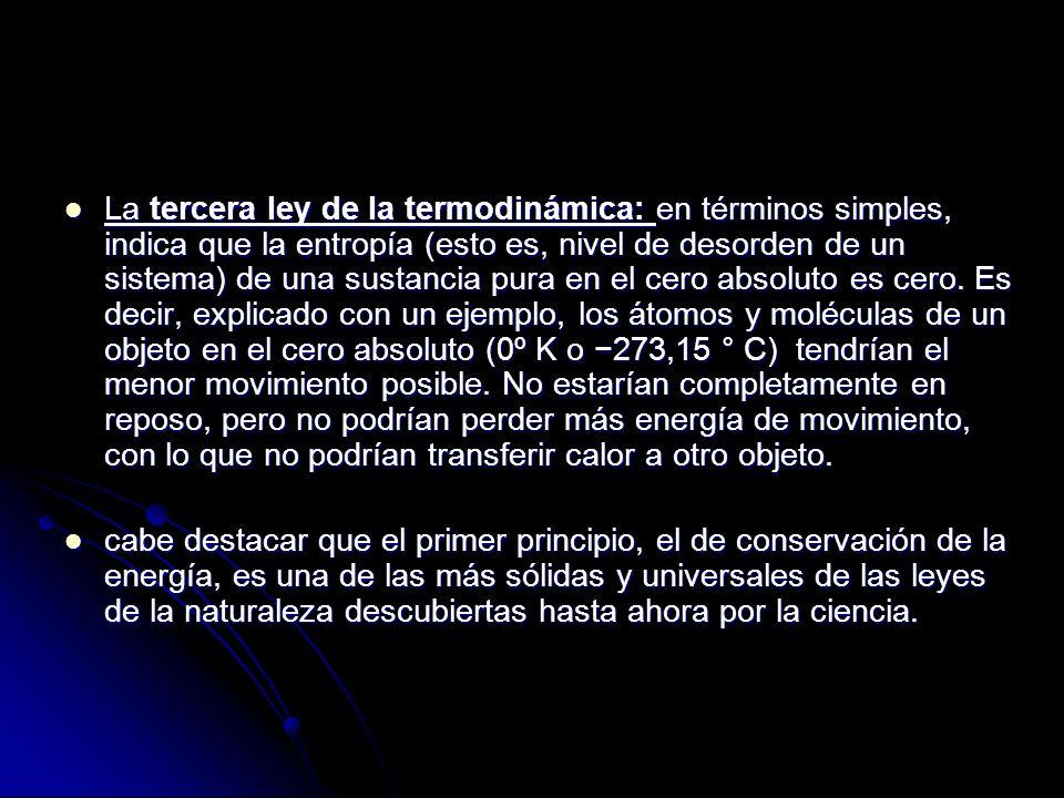 La tercera ley de la termodinámica: en términos simples, indica que la entropía (esto es, nivel de desorden de un sistema) de una sustancia pura en el