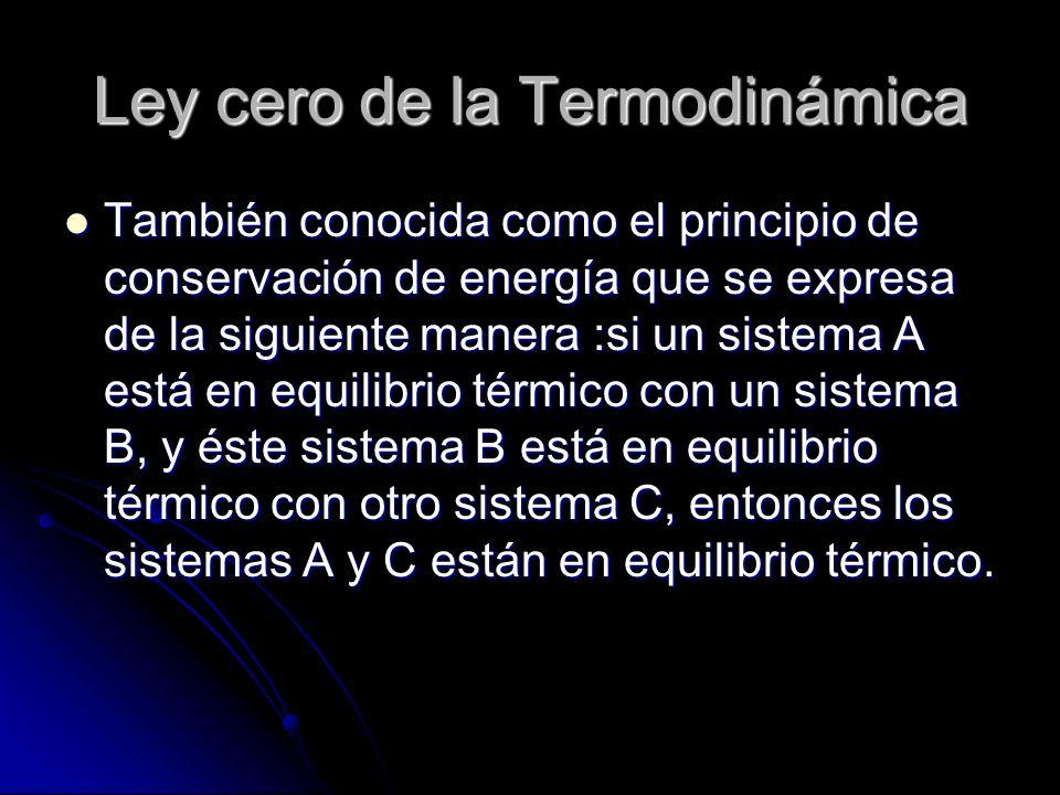 Ley cero de la Termodinámica También conocida como el principio de conservación de energía que se expresa de la siguiente manera :si un sistema A está