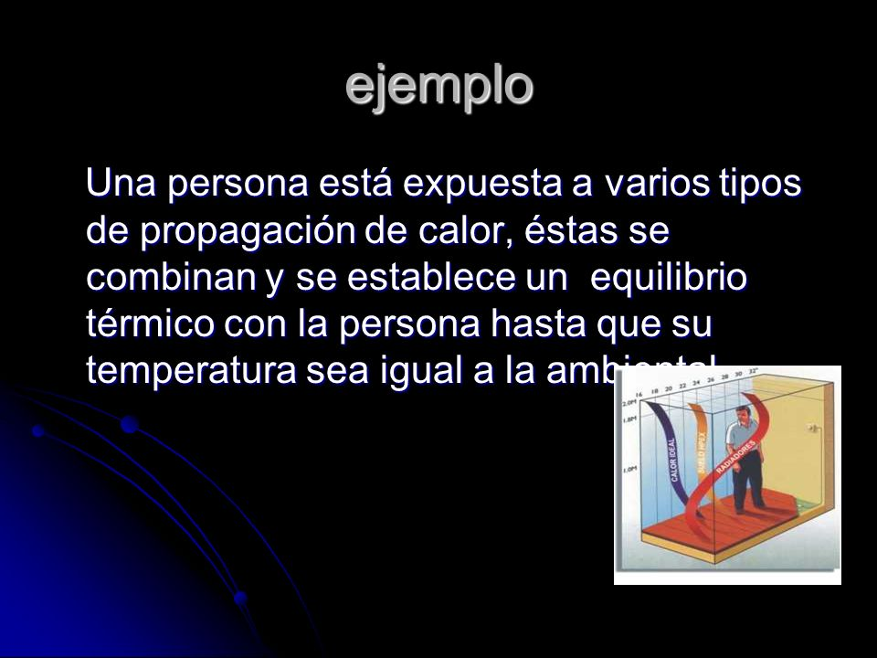 ejemplo Una persona está expuesta a varios tipos de propagación de calor, éstas se combinan y se establece un equilibrio térmico con la persona hasta