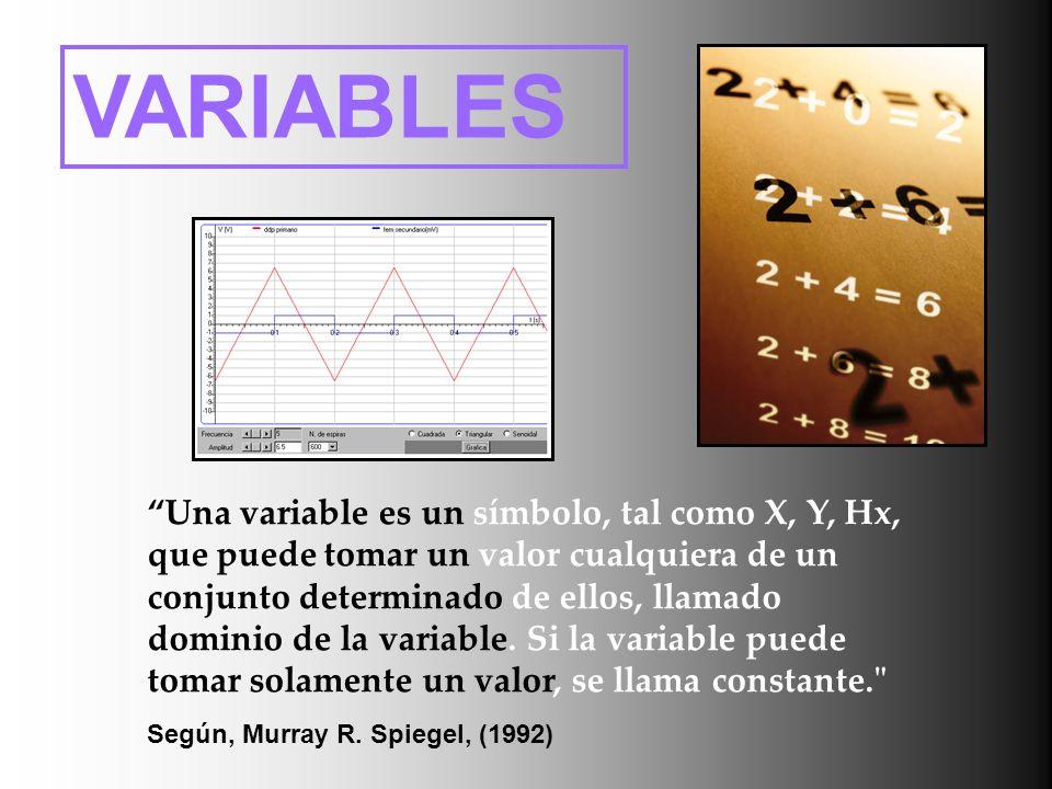 VARIABLES Una variable es un símbolo, tal como X, Y, Hx, que puede tomar un valor cualquiera de un conjunto determinado de ellos, llamado dominio de l