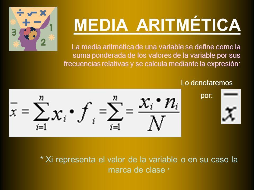 MEDIA ARITMÉTICA La media aritmética de una variable se define como la suma ponderada de los valores de la variable por sus frecuencias relativas y se