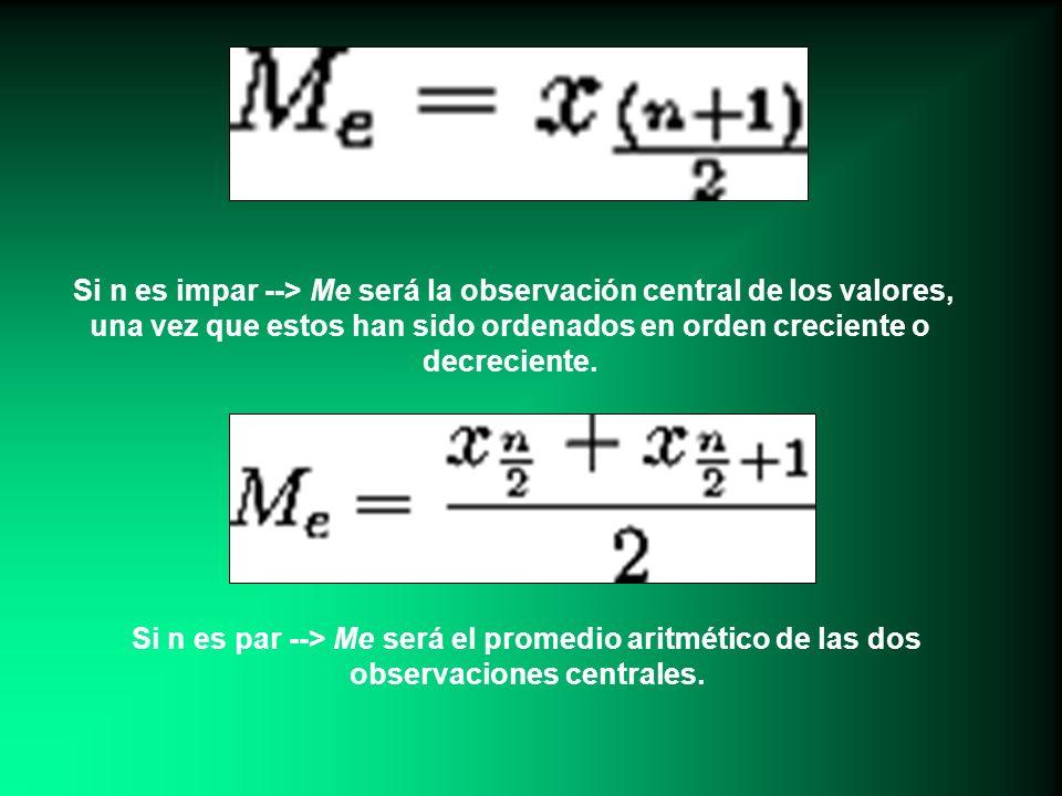 Si n es impar --> Me será la observación central de los valores, una vez que estos han sido ordenados en orden creciente o decreciente. Si n es par --