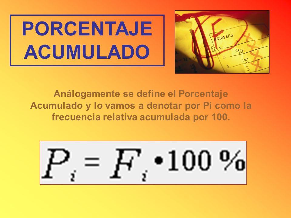 PORCENTAJE ACUMULADO Análogamente se define el Porcentaje Acumulado y lo vamos a denotar por Pi como la frecuencia relativa acumulada por 100.