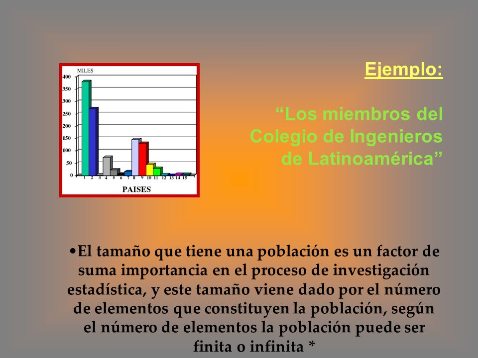 Ejemplo: Los miembros del Colegio de Ingenieros de Latinoamérica El tamaño que tiene una población es un factor de suma importancia en el proceso de i