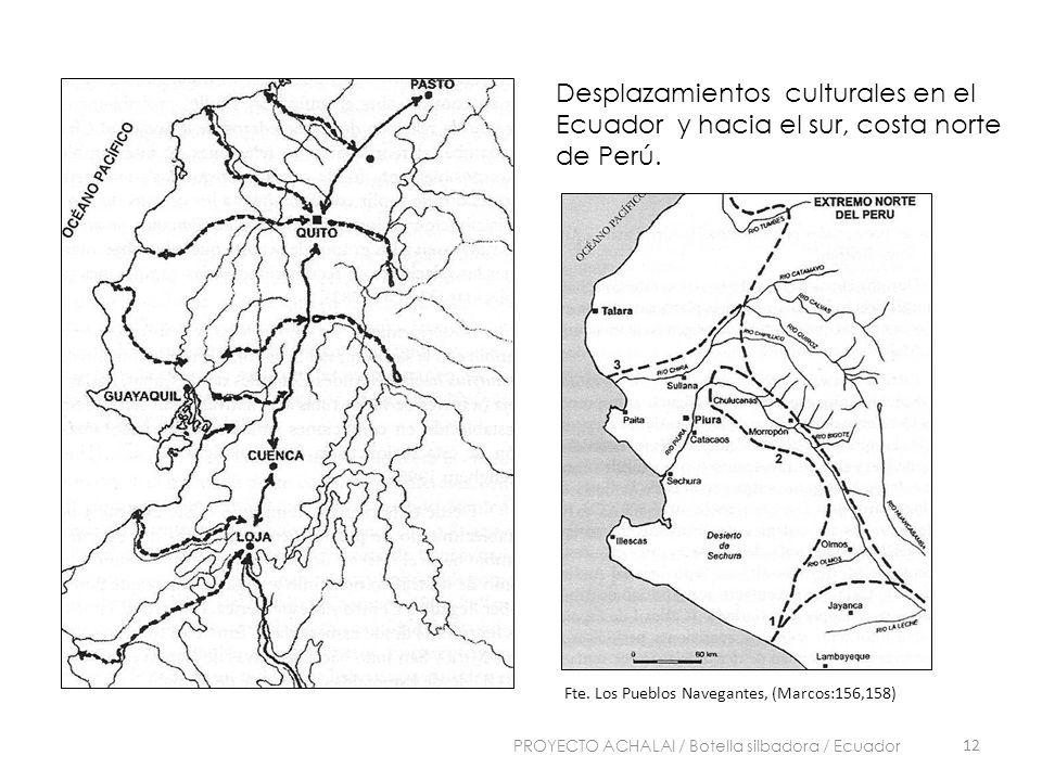 Desplazamientos culturales en el Ecuador y hacia el sur, costa norte de Perú. Fte. Los Pueblos Navegantes, (Marcos:156,158) 12 PROYECTO ACHALAI / Bote