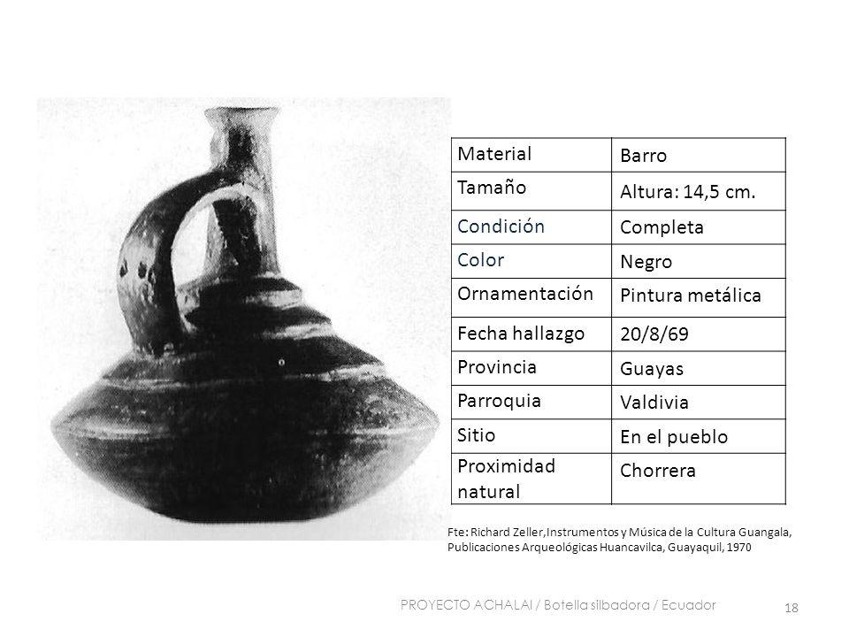 Material Barro Tamaño Altura: 14,5 cm. Condición Completa Color Negro Ornamentación Pintura metálica Fecha hallazgo 20/8/69 Provincia Guayas Parroquia