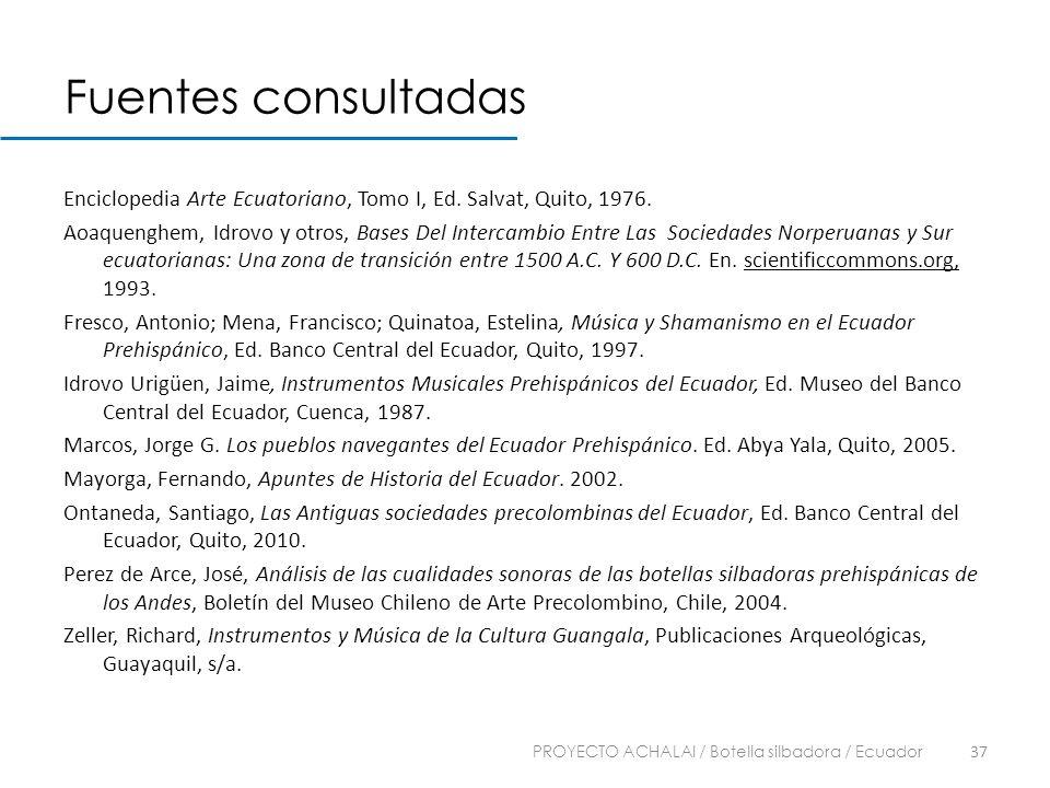 Fuentes consultadas Enciclopedia Arte Ecuatoriano, Tomo I, Ed. Salvat, Quito, 1976. Aoaquenghem, Idrovo y otros, Bases Del Intercambio Entre Las Socie
