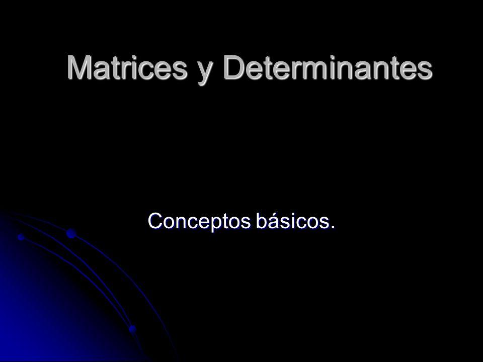 Matrices y Determinantes Conceptos básicos.