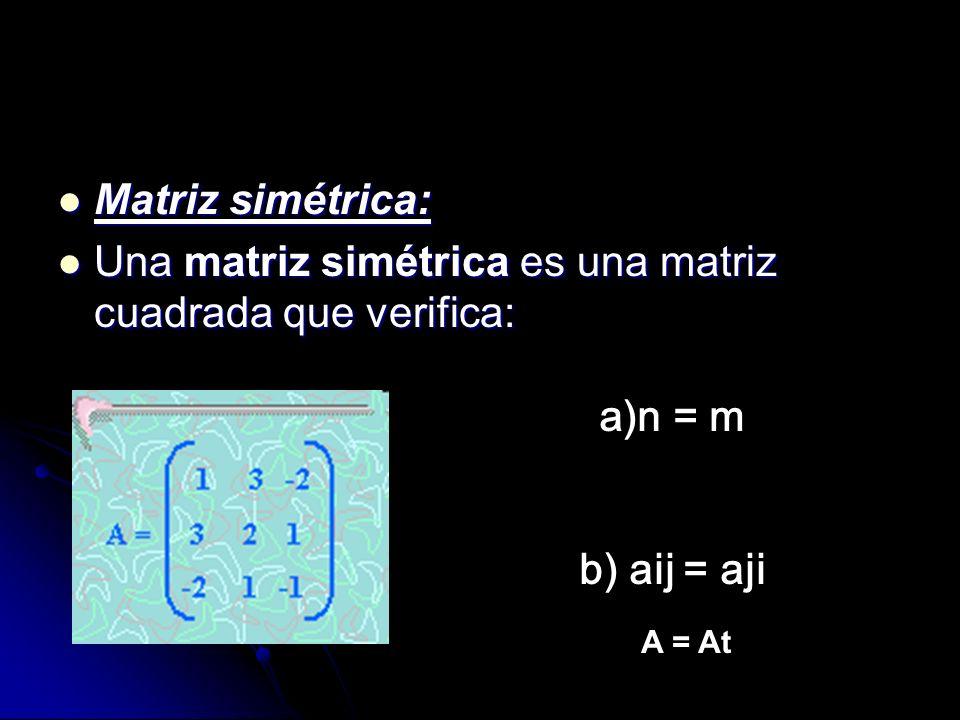 Matriz simétrica: Matriz simétrica: Una matriz simétrica es una matriz cuadrada que verifica: Una matriz simétrica es una matriz cuadrada que verifica