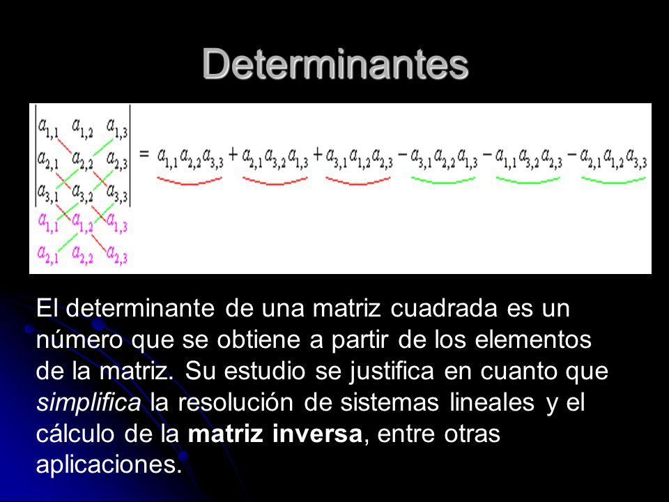 Determinantes El determinante de una matriz cuadrada es un número que se obtiene a partir de los elementos de la matriz. Su estudio se justifica en cu