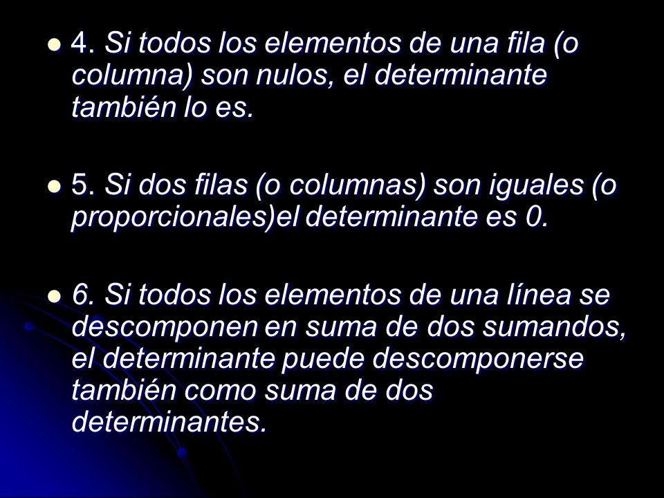 4. Si todos los elementos de una fila (o columna) son nulos, el determinante también lo es. 4. Si todos los elementos de una fila (o columna) son nulo