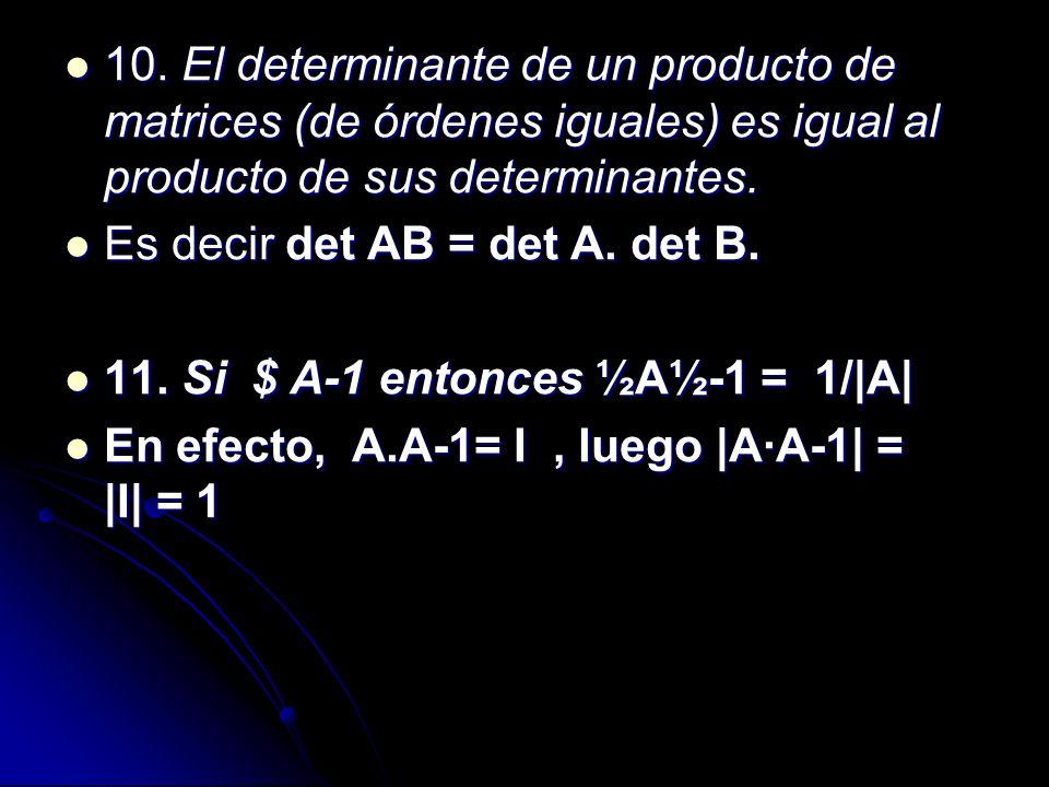 10. El determinante de un producto de matrices (de órdenes iguales) es igual al producto de sus determinantes. 10. El determinante de un producto de m