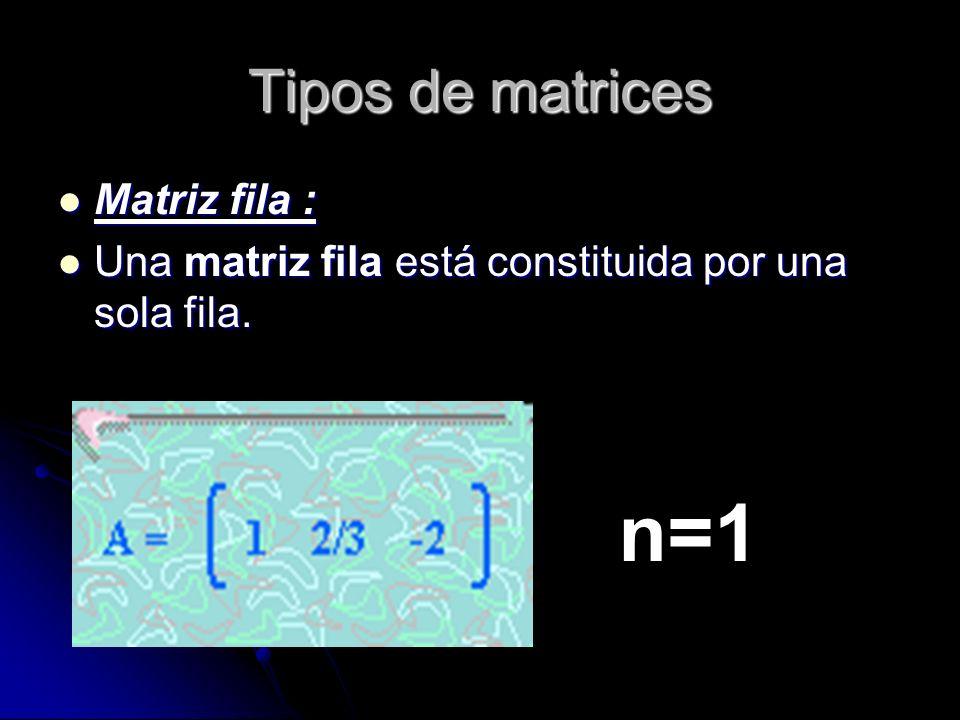 Tipos de matrices Matriz fila : Matriz fila : Una matriz fila está constituida por una sola fila. Una matriz fila está constituida por una sola fila.