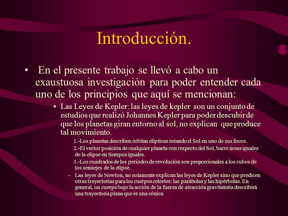 Indice Las Leyes de Kepler.Las Tres Leyes del movimiento de Newton.