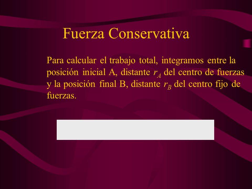Fuerza Conservativa Vamos a calcular el trabajo realizado por la fuerza de atracción F.