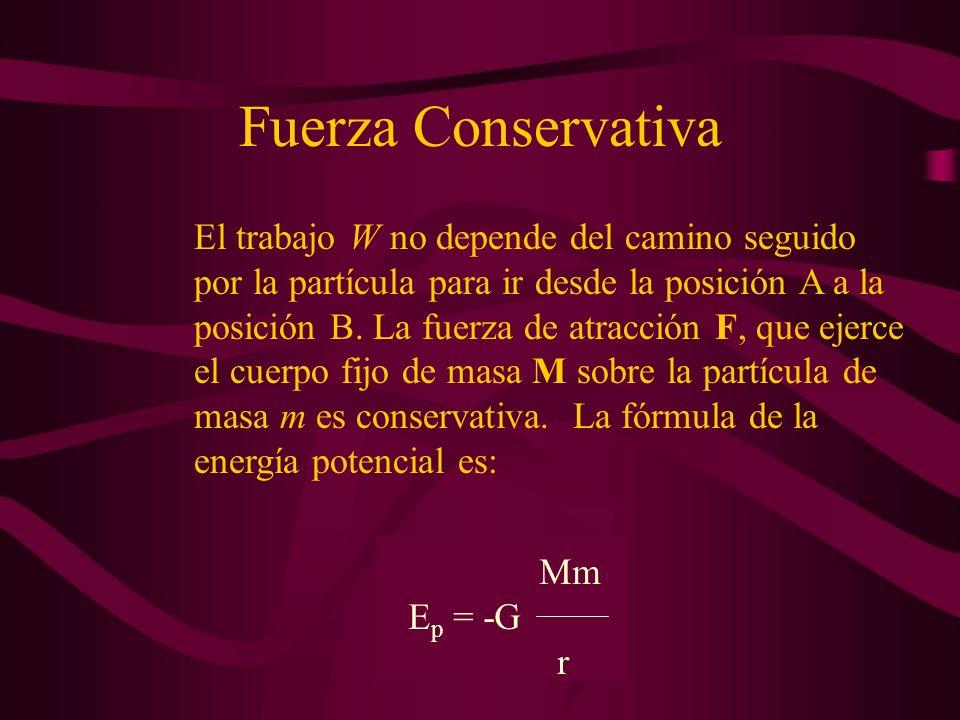 Fuerza Conservativa Para calcular el trabajo total, integramos entre la posición inicial A, distante r A del centro de fuerzas y la posición final B, distante r B del centro fijo de fuerzas.