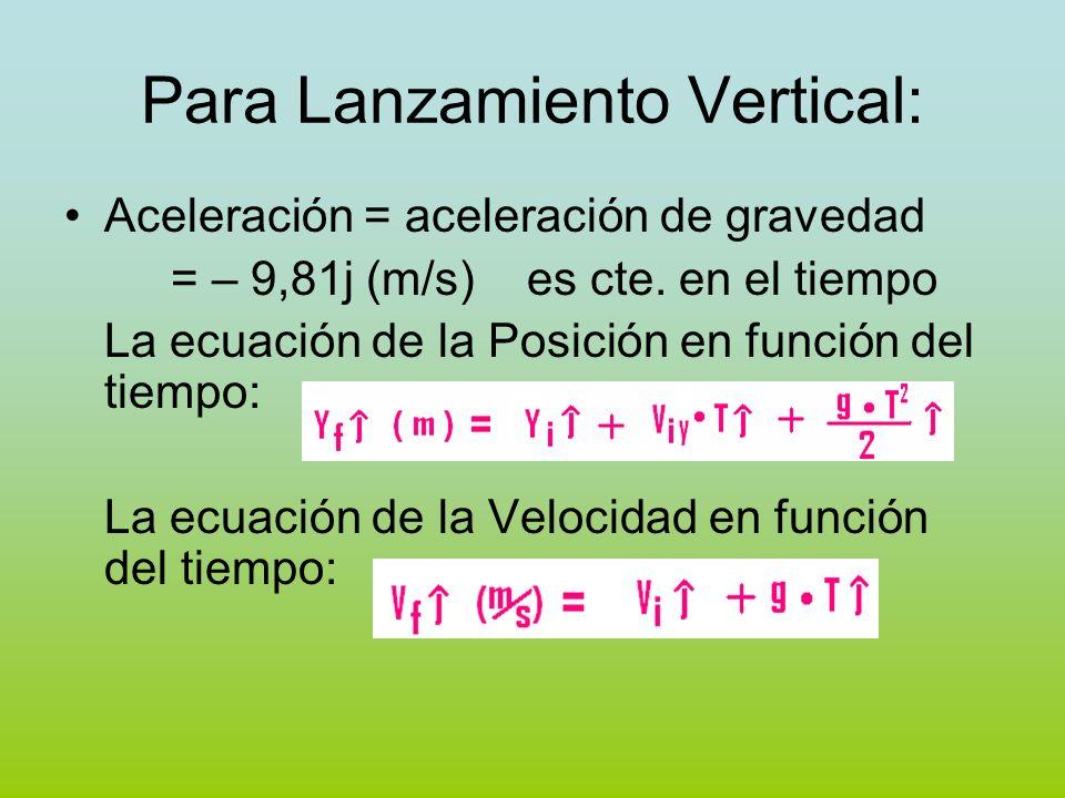 Para Lanzamiento Vertical: Aceleración = aceleración de gravedad = – 9,81j (m/s) es cte. en el tiempo La ecuación de la Posición en función del tiempo
