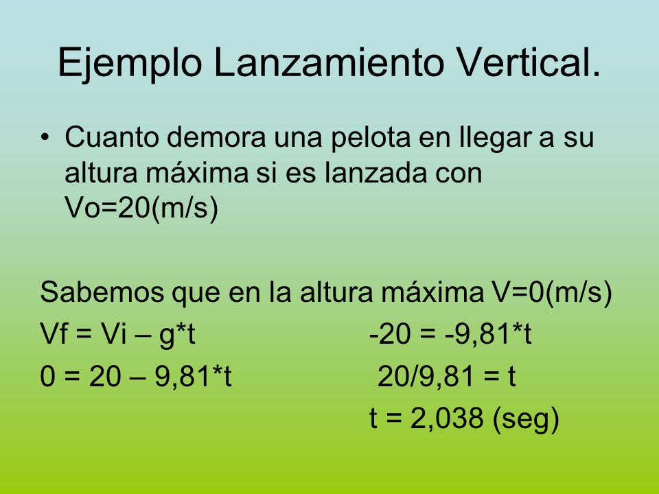 Ejemplo Lanzamiento Vertical. Cuanto demora una pelota en llegar a su altura máxima si es lanzada con Vo=20(m/s) Sabemos que en la altura máxima V=0(m