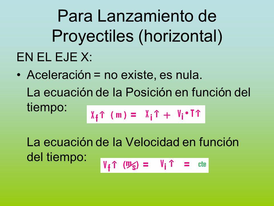 Para Lanzamiento de Proyectiles (horizontal) EN EL EJE X: Aceleración = no existe, es nula. La ecuación de la Posición en función del tiempo: La ecuac