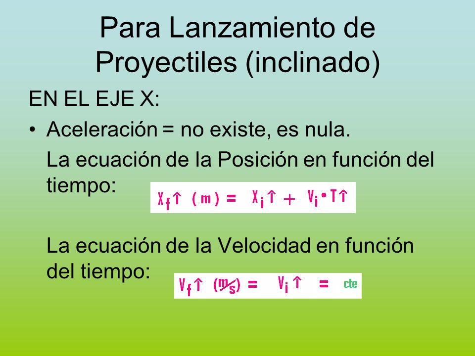 Para Lanzamiento de Proyectiles (inclinado) EN EL EJE X: Aceleración = no existe, es nula. La ecuación de la Posición en función del tiempo: La ecuaci