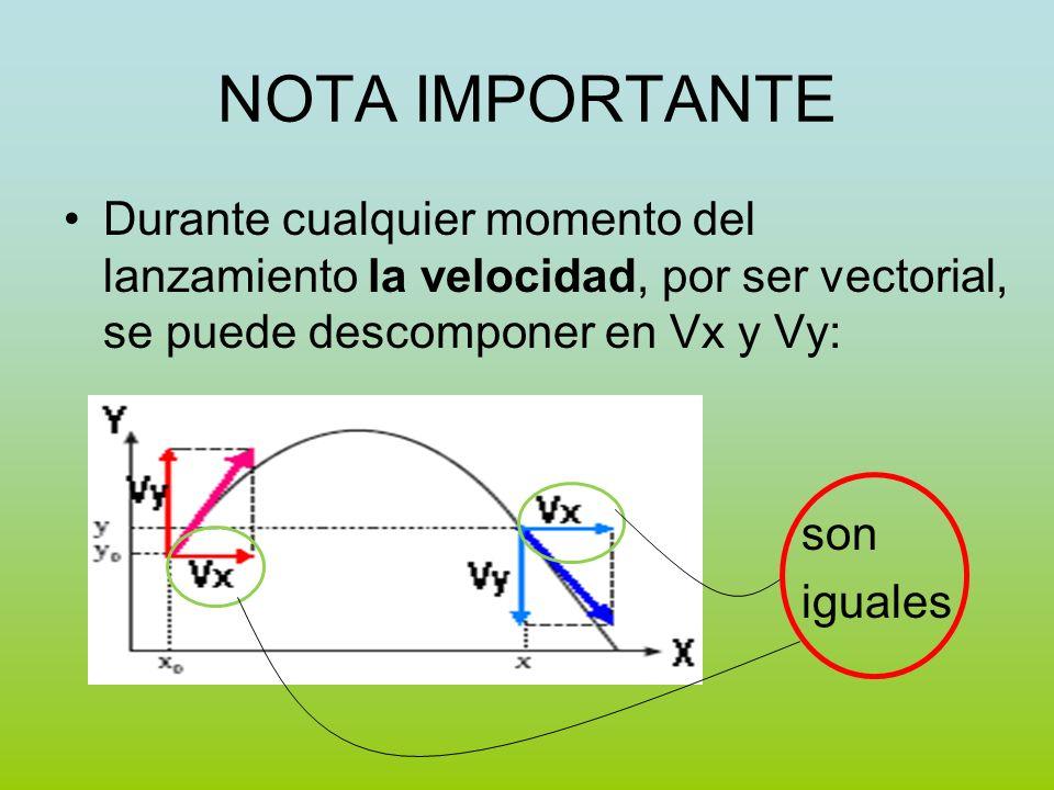 NOTA IMPORTANTE Durante cualquier momento del lanzamiento la velocidad, por ser vectorial, se puede descomponer en Vx y Vy: son iguales