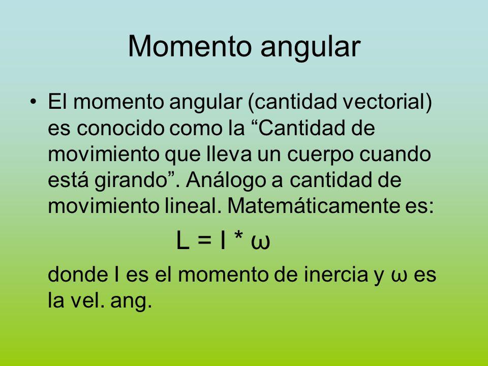 Momento angular El momento angular (cantidad vectorial) es conocido como la Cantidad de movimiento que lleva un cuerpo cuando está girando. Análogo a