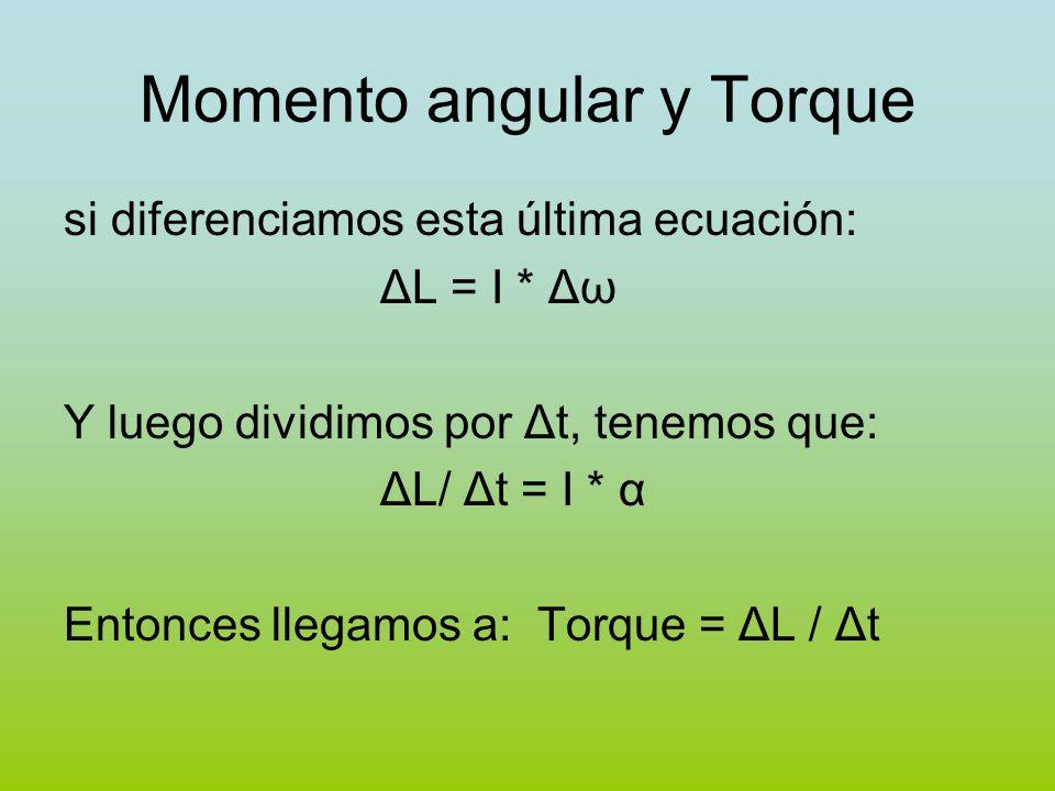Momento angular y Torque si diferenciamos esta última ecuación: ΔL = I * Δω Y luego dividimos por Δt, tenemos que: ΔL/ Δt = I * α Entonces llegamos a:
