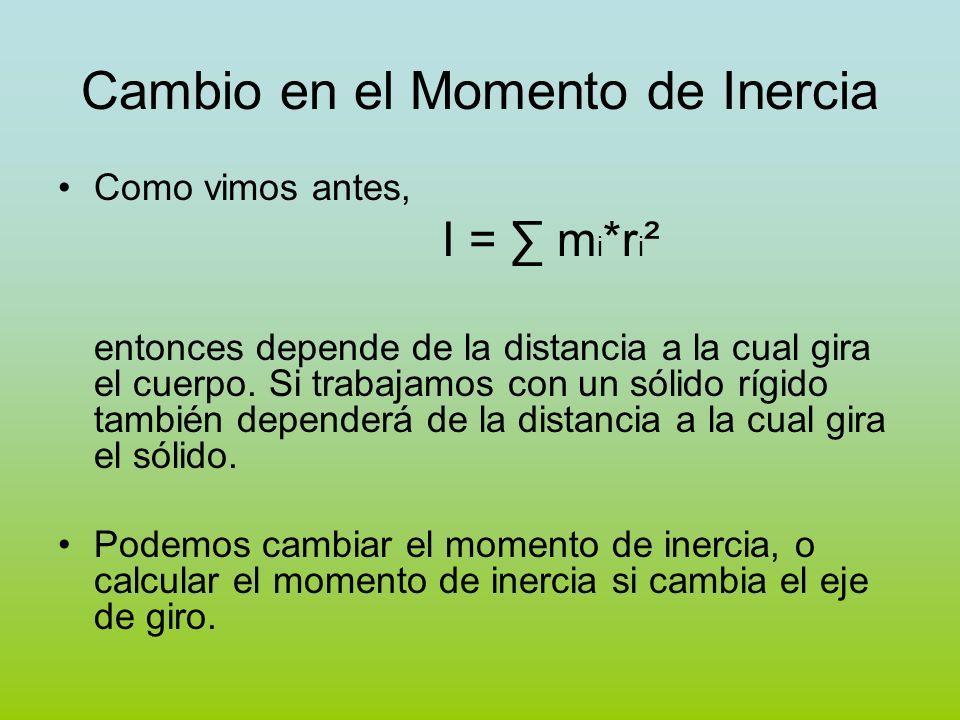 Cambio en el Momento de Inercia Como vimos antes, I = m i *r i ² entonces depende de la distancia a la cual gira el cuerpo. Si trabajamos con un sólid