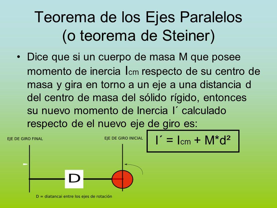 Teorema de los Ejes Paralelos (o teorema de Steiner) Dice que si un cuerpo de masa M que posee momento de inercia I cm respecto de su centro de masa y