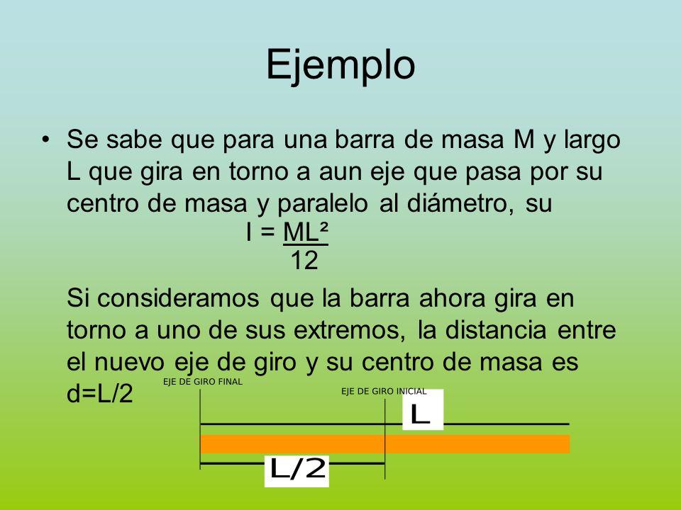 Ejemplo Se sabe que para una barra de masa M y largo L que gira en torno a aun eje que pasa por su centro de masa y paralelo al diámetro, su I = ML² 1