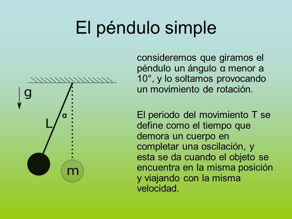El péndulo simple consideremos que giramos el péndulo un ángulo α menor a 10°, y lo soltamos provocando un movimiento de rotación. El periodo del movi
