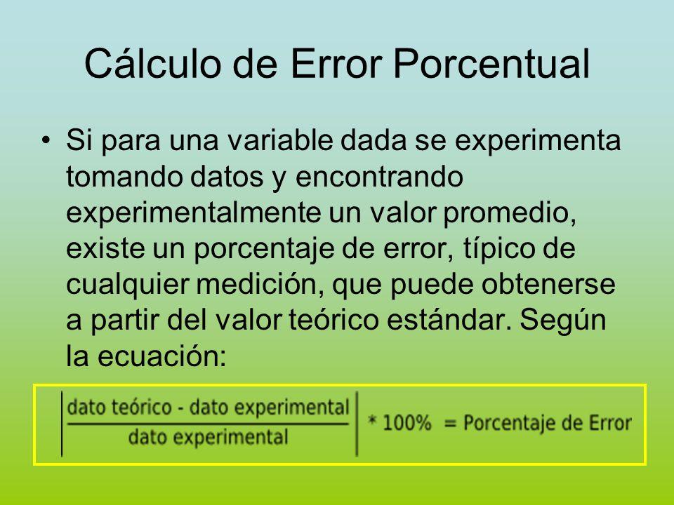 Cálculo de Error Porcentual Si para una variable dada se experimenta tomando datos y encontrando experimentalmente un valor promedio, existe un porcen