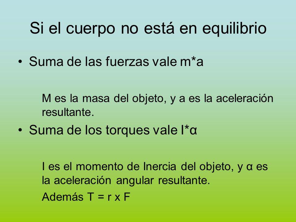 Si el cuerpo no está en equilibrio Suma de las fuerzas vale m*a M es la masa del objeto, y a es la aceleración resultante. Suma de los torques vale I*