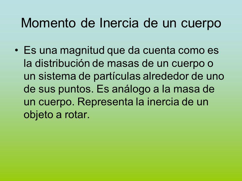Momento de Inercia de un cuerpo Es una magnitud que da cuenta como es la distribución de masas de un cuerpo o un sistema de partículas alrededor de un