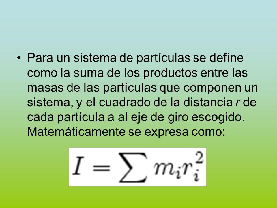 Para un sistema de partículas se define como la suma de los productos entre las masas de las partículas que componen un sistema, y el cuadrado de la d