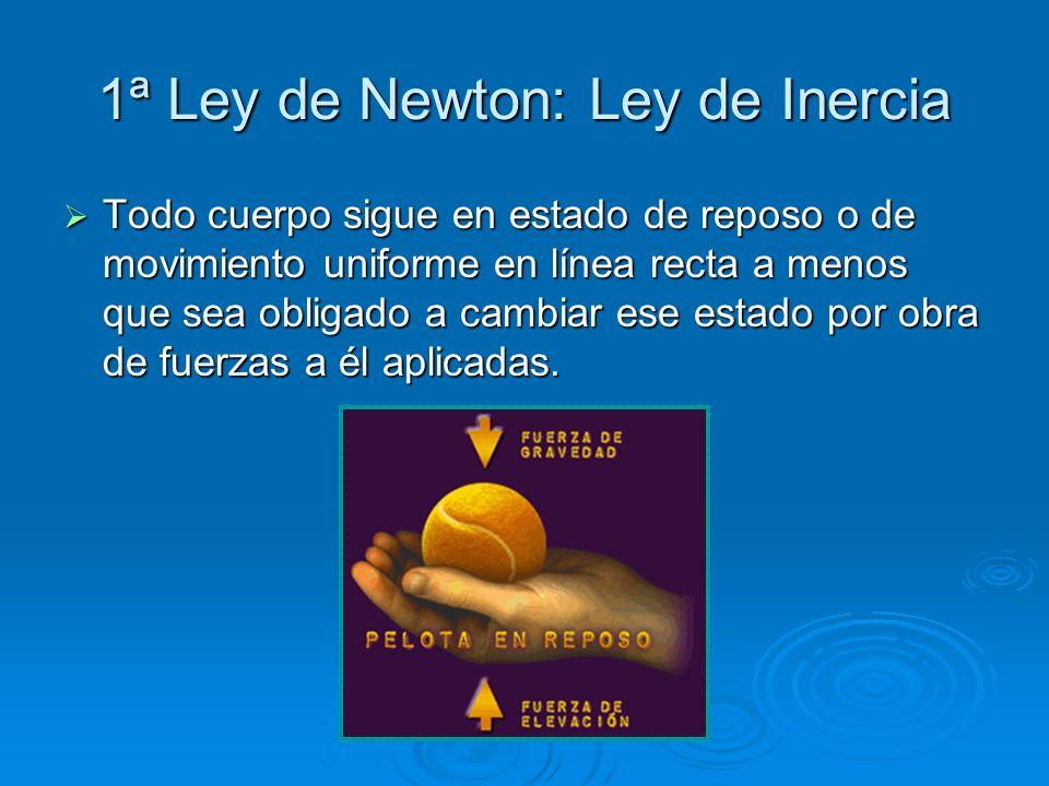 1ª Ley de Newton: Ley de Inercia Todo cuerpo sigue en estado de reposo o de movimiento uniforme en línea recta a menos que sea obligado a cambiar ese
