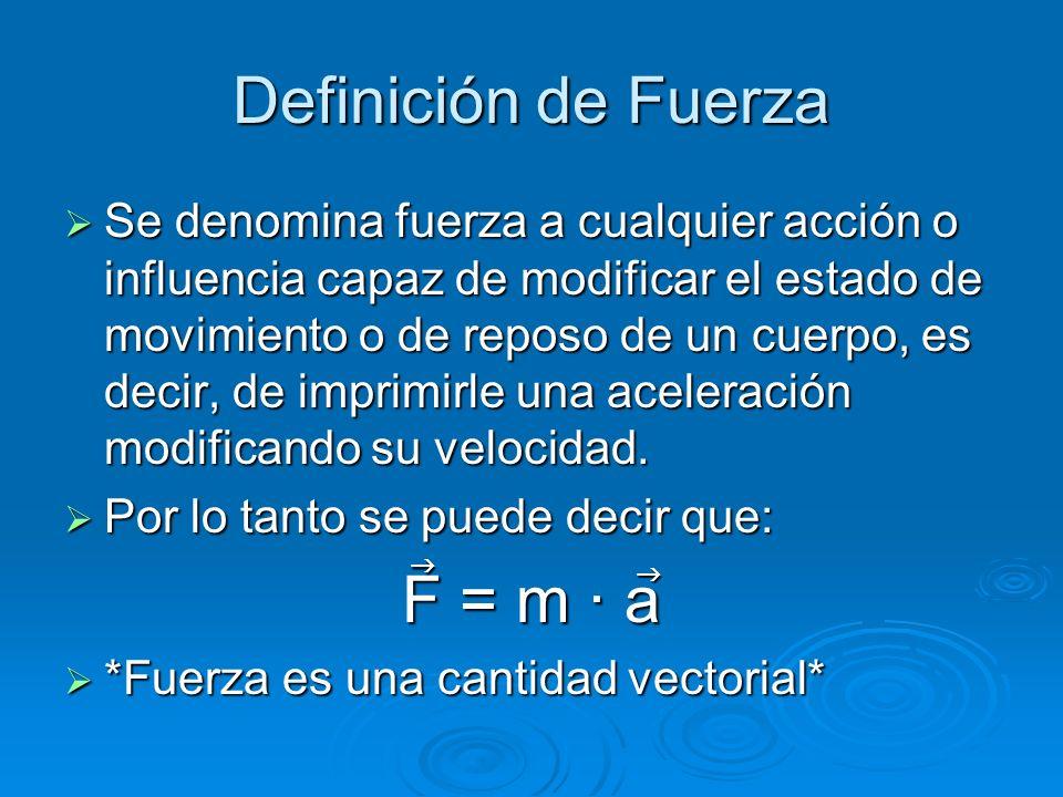 Definición de Fuerza Se denomina fuerza a cualquier acción o influencia capaz de modificar el estado de movimiento o de reposo de un cuerpo, es decir,