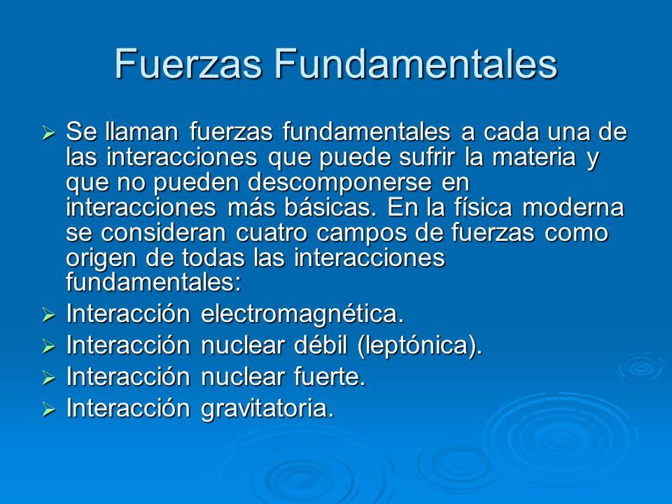 Fuerzas Fundamentales Se llaman fuerzas fundamentales a cada una de las interacciones que puede sufrir la materia y que no pueden descomponerse en int