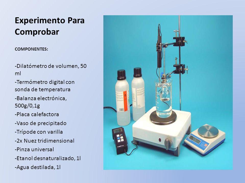 Experimento Para Comprobar COMPONENTES: -Dilatómetro de volumen, 50 ml -Termómetro digital con sonda de temperatura -Balanza electrónica, 500g/0,1g -P