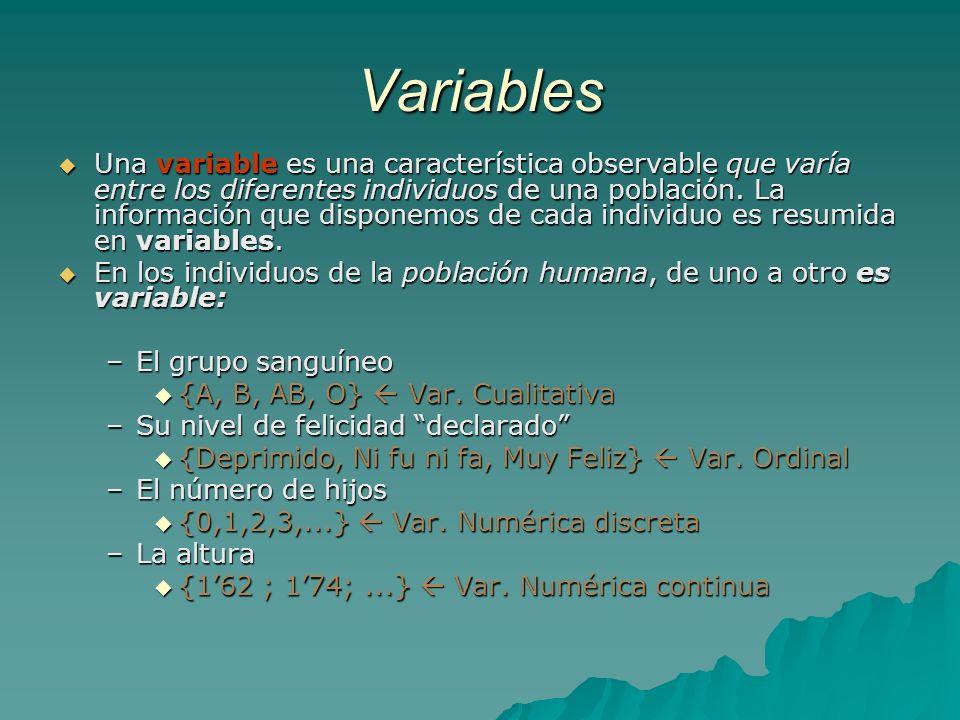 Tipos de variables Cualitativas: son aquellas cuando las observaciones realizadas se refieren a un atributo (no son numéricas), por ej: sexo, nacionalidad, profesión.