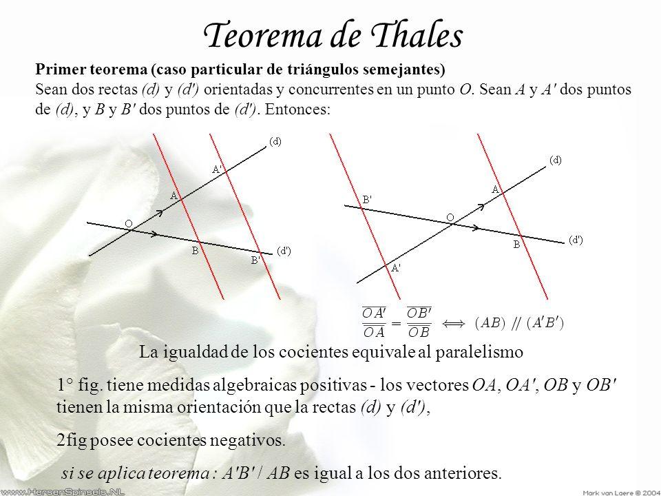 Teorema de Thales Primer teorema (caso particular de triángulos semejantes) Sean dos rectas (d) y (d') orientadas y concurrentes en un punto O. Sean A