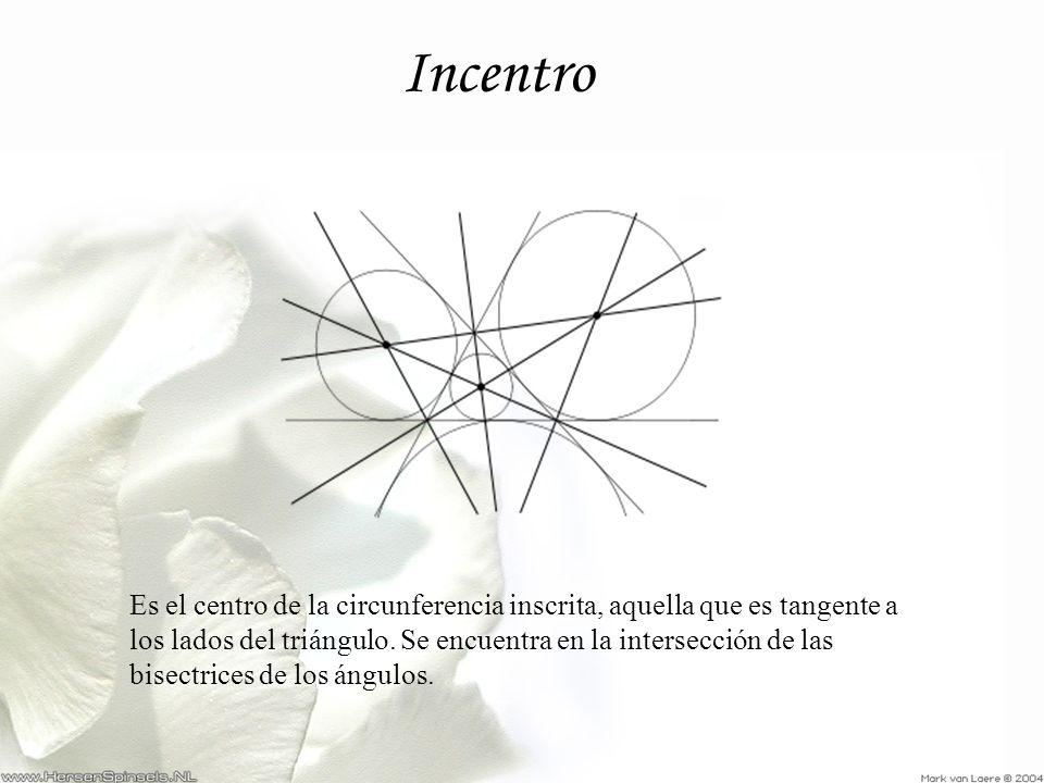 Incentro Es el centro de la circunferencia inscrita, aquella que es tangente a los lados del triángulo. Se encuentra en la intersección de las bisectr