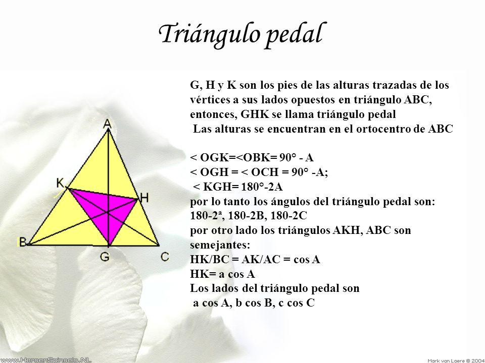 Triángulo pedal G, H y K son los pies de las alturas trazadas de los vértices a sus lados opuestos en triángulo ABC, entonces, GHK se llama triángulo