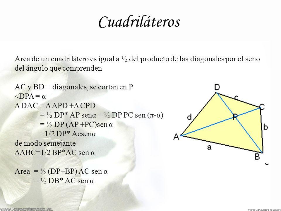 Cuadriláteros Area de un cuadrilátero es igual a ½ del producto de las diagonales por el seno del ángulo que comprenden AC y BD = diagonales, se corta
