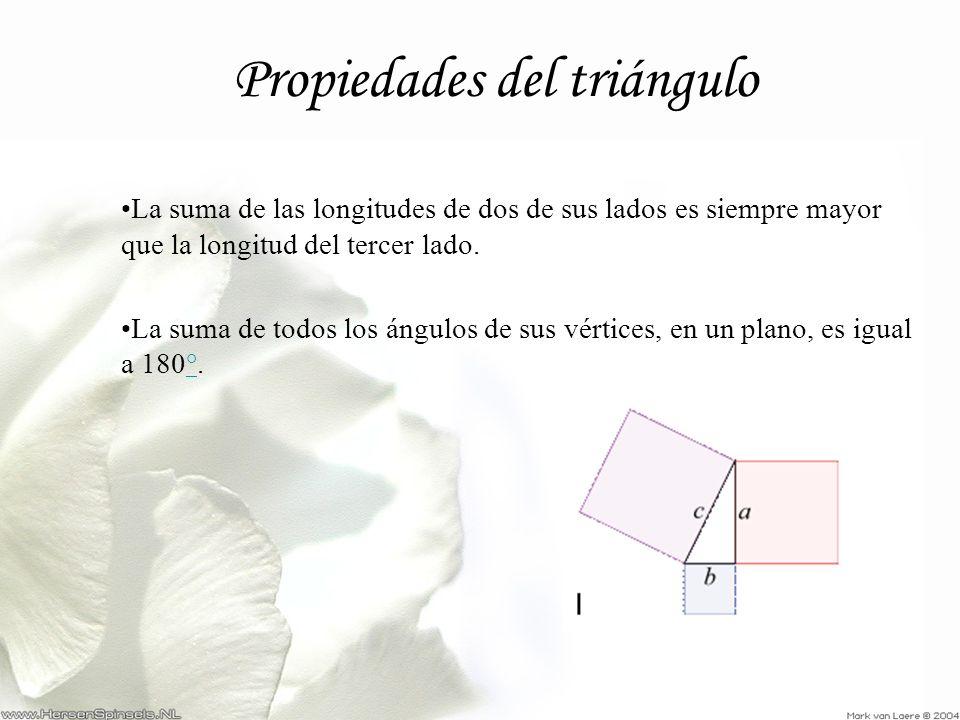 Propiedades del triángulo La suma de las longitudes de dos de sus lados es siempre mayor que la longitud del tercer lado. La suma de todos los ángulos