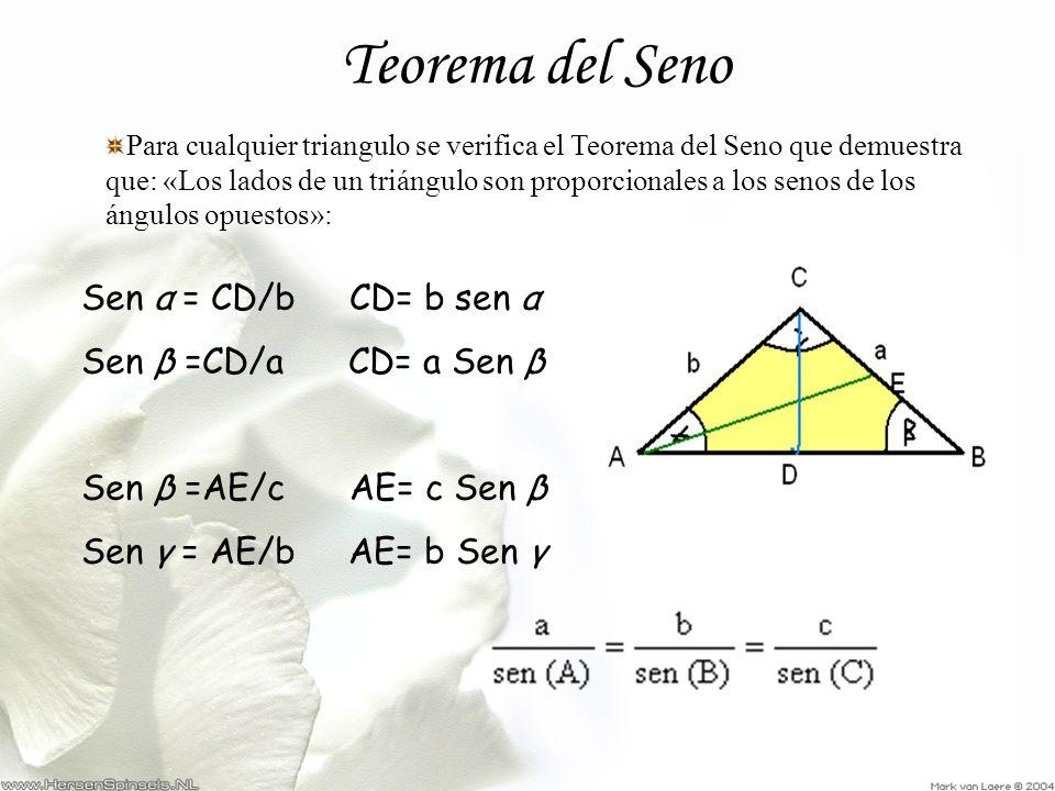 Teorema del Seno Para cualquier triangulo se verifica el Teorema del Seno que demuestra que: «Los lados de un triángulo son proporcionales a los senos
