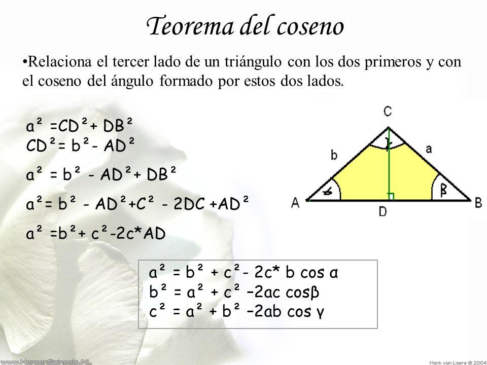 Teorema del coseno Relaciona el tercer lado de un triángulo con los dos primeros y con el coseno del ángulo formado por estos dos lados. a² =CD²+ DB²